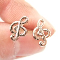 Simple Musical Note Treble Clef Shaped Stud Earrings in Rose Gold