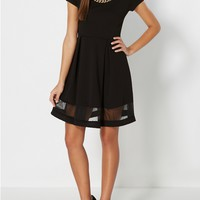 Chain Necklace Pleated Skater Dress