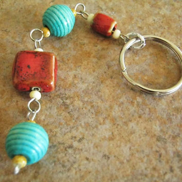 Wire Wrapped Keychain, Red Ceramic Turquoise Blue Wood Bead Keyring, Ladies Accessories Handmade, Gifts for Her, Southwestern style, Arizona