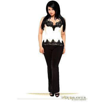 Daisy Corsets Top Drawer Ivory Satin Steel Boned Beaded Corset