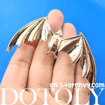 Large Bat Animal Wrap Ear Cuff in Shiny Gold | DOTOLY