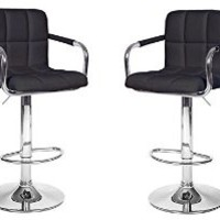 "2 Modern Adjustable ""Leather"" Swivel Pub Style Bar Stools / Barstools"