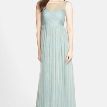 Women's Jenny Yoo 'Aria' Illusion Yoke Pleated Tulle Gown,