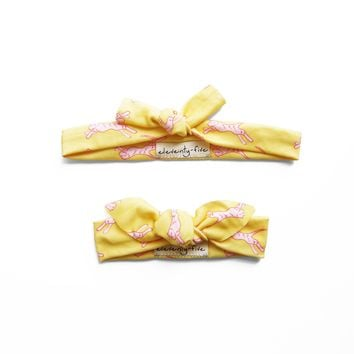 Set of Two Electric Tiger Organic Stretch Knit Head Tie For Mom & Baby