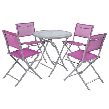 Pink Purple Rose Red 5-Piece Folding Chairs and Table Patio Furniture Set