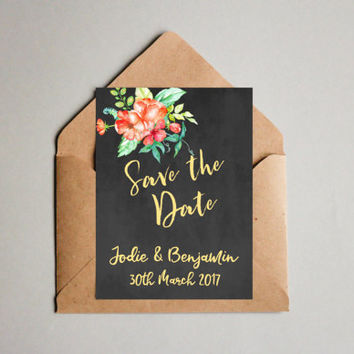 Save the date download,  Printable Save the date, black floral wedding suite,  Wedding stationary, DIY, Printable Wedding,  glamour Wedding