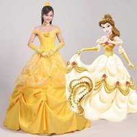 DCCKH6B Cosplay Women's the Beauty and Beast Princess Belle Dress Party Halloween Ball Gown Female Yellow Prom Costume  N342347