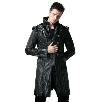 Steampunk Faux Leather Men's Army Uniform Long Jackets Gothic Stand Collar Black Coats Casual Punk Wind Jackets