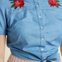 Collectif x MC Desert Rose Denim Blouse