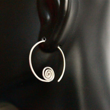 Coiled Silver Earrings, Metal Jewelry, Sterling Silver earrings, Jewelry, Hoop Earrings
