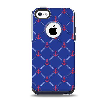 The Red & Blue Seamless Anchor Pattern Skin for the iPhone 5c OtterBox Commuter Case