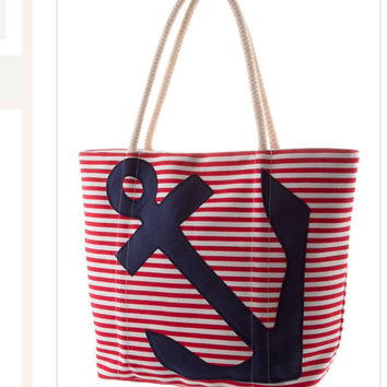 Anchor Tote  Canvas Laptop Bag Back to School Fashion Bag - By PiYOYO