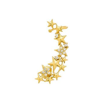 Lucky Star Constellation Ear Cuff in Metallic Gold