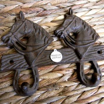 Cast Iron Republican Gifts, Animal Wall Hook, Conservative, GOP Politics, 2016 Election, Trump, Cruz, Rubio Western Horse Lucky Horseshoe,
