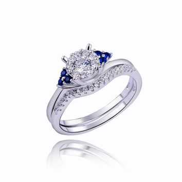 SHIPS FROM USA Pure 925 Sterling Silver Wedding Rings Engagement Bridal Sets Special Blue Side Stone Fashionable Jewelry For Women
