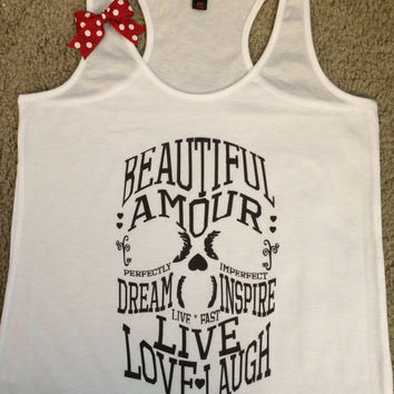 Inspirational Skull - Skull Tank- Skull Words - Ruffles with Love - Racerback Tank - Womens Fitness - Workout Clothing - Workout Shirts with Sayings