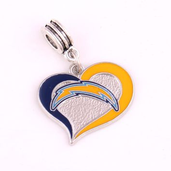 Heart Sport Chargers Panthers Redskins Detroit Lions Chiefs Falcons football team Beads Charms fit Fashion Bracelet DIY Jewelry