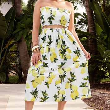 Treasure Lemon Print Crop Top Maxi Skirt 2 Piece Set Dress