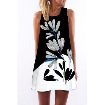 New digital printing round neck fashion wild 2019 dress