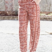 Annie Printed Woven Pant, Rust