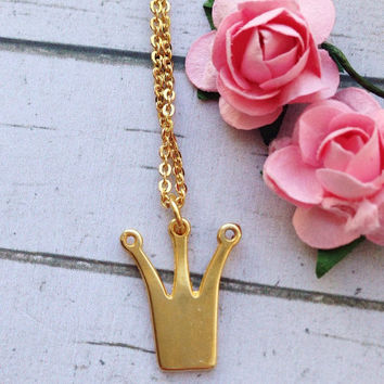 Personalized Girl's Necklace. Personalized Crown Necklace Layered Necklace Initial. Princess Necklace