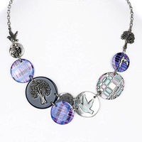 NECKLACE / LINK / TEXTURED BRASS / BURNISH / LUCITE BEAD / CRYSTAL STONE / EPOXY / DOVE / TREE / FLOWER / PREMIUM COLLECTION / 1 1/2 INCH DROP / 16 INCH LONG / NICKEL AND LEAD COMPLIANT