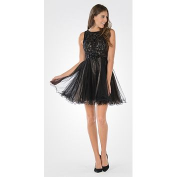 Sleeveless Tulle Skirt Embellished Bodice Damas Dress Short Black