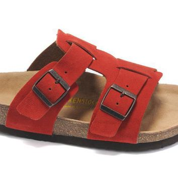 Birkenstock Riva Casual Cork Sandals Red Soft Footbed Slippers