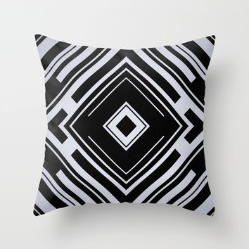 Black and White Tribal Pattern Diamond Shapes Geometric Geometry Contrast I Throw Pillow by AEJ Design