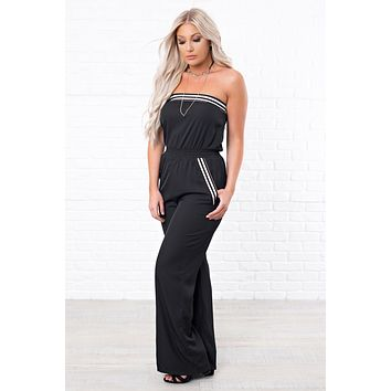 And You're Off Strapless Jumpsuit (Black)