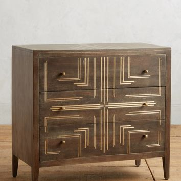 Geo Brass Inlay Three-Drawer Dresser