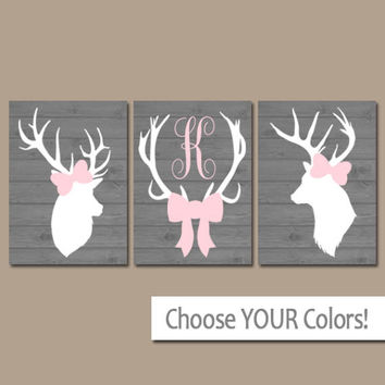 GIRL DEER Wall Art, Canvas or Prints, Pink Gray Baby Girl Nursery Artwork, Deer Head Antler Monogram Bow, Rustic Country Decor, Set of 3