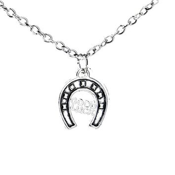 Letter Good Luck Horse Shoe Trendy Pendant Necklace