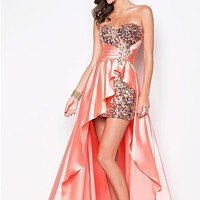 Blush Prom 9508 Tangerine Hi Lo Evening Dress