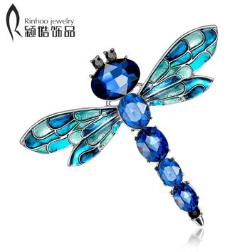Rinhoo Vintage Shinny 3 Colors Crystal Rhinestone Dragonfly Brooches for Women Dress Scarf Brooch Pins Jewelry Accessories Gift