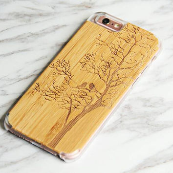 Natural Wooden Carving Engarved iPhone 6S 6 Case Tree Birds Untra Slim Custom cover Bamboo Clear Edge