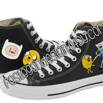 CREYUG7 Finn and Jake Painted Shoes / Adventure Time / Custom Converse