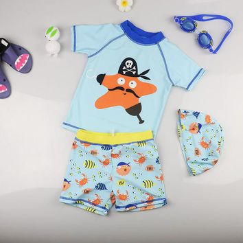 Childrens Swimsuit Cute 3pcs Children's  Baby Boy's Swimwear Sunscreen Quick Dry Swimming Trunks Starfish Style UV Prodection (SPF50+) Sets KO_25_2