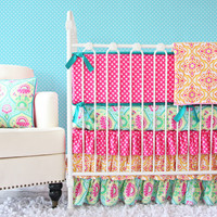 Lily Pad Ruffled Baby Bedding with Tiered Skirt