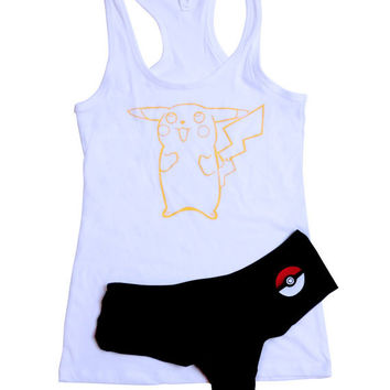 Pokemon Sleep Set - Pikachu - Pajamas PJs Pj Set - Pokemon, Gamer Girl Gift, Nintendo, Retro Gaming, Sleep/Loungewear