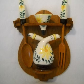 Vintage Nasco Oil Vinegar Cruet Funnel Fork And Spoon Wall Hanging 1950's Hand Painted Yellow Flower