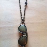 Cool Aviator Sunglasses Necklace with Black Obsidian Bead