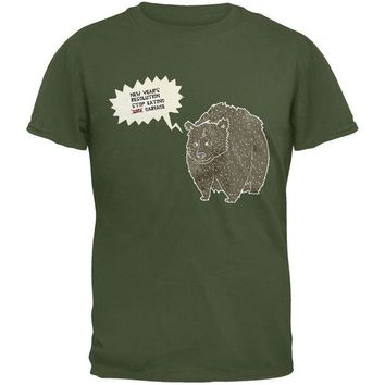 DCCKJY1 New Year's Stop Eating Garbage Military Green Adult T-Shirt