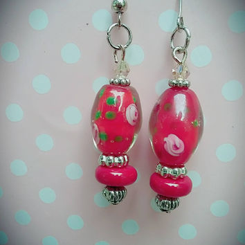 Red glass lampwork bead earrings with floral design and silver and red beads