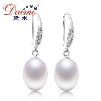 DAIMI Drop Earrings For Women Sterling-silver-jewelry Natural Round Trendy Freshwater Pearl Jewelry Fine Jewelry 143