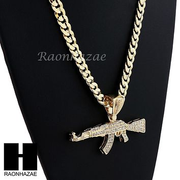 HIP HOP ICED OUT AK-47 GUN BIG PENDANT DIAMOND CUT CUBAN LINK CHAIN NECKLACE N4