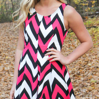 Chevron Sleeveless Dress - Pink