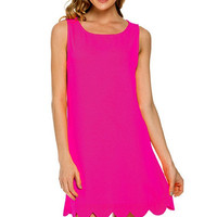Scalloped Hem Slveless Dress, Hot Pink