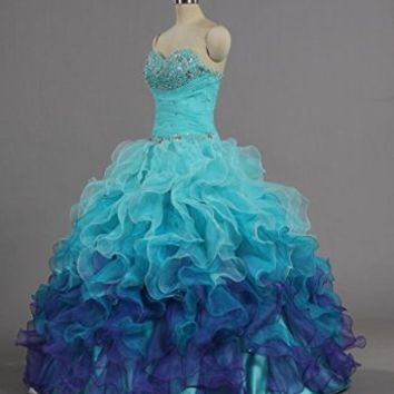 ANTS Women's Gorgeous Strapless Rainbow Quinceanera Dresses Ruffle Prom Gowns