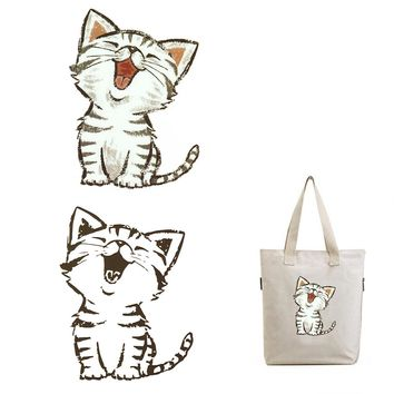 Washable Household Iron on Patches Heat Transfer DIY Decoration Appliqued for Top Coat Clothes Funny Cat Parches Stickers
